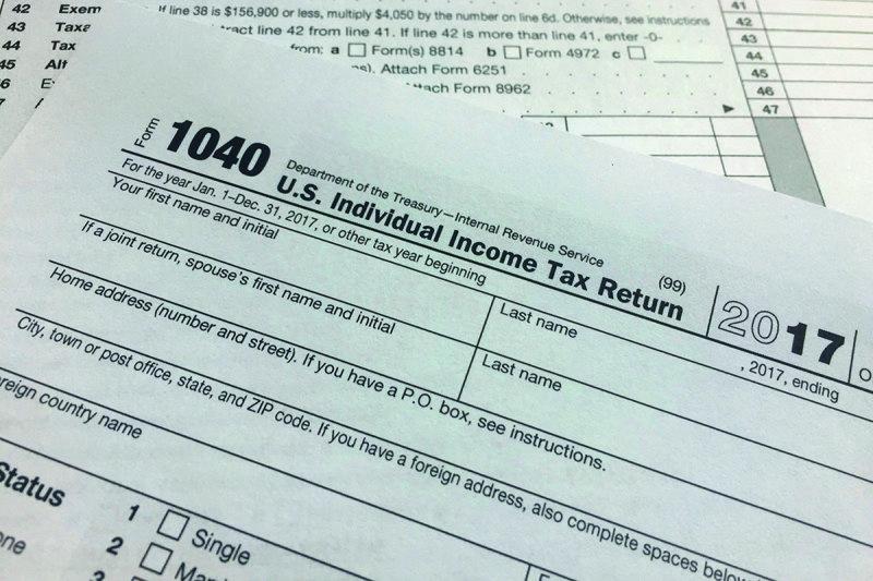 An IRS 1040 form, US Individual Income Tax Return
