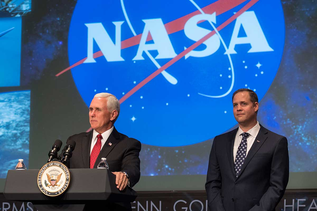 Mike Pence, US vice president (left) and Jim Bridenstine