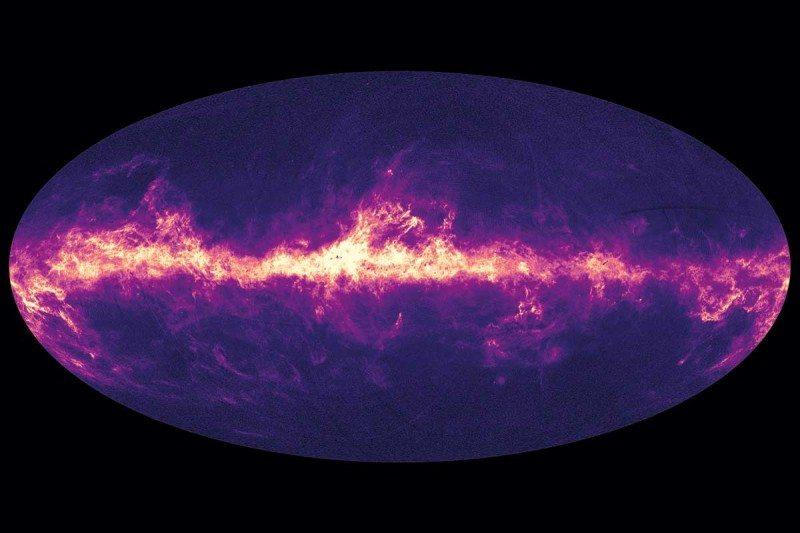 Stars shining through dust in galaxy