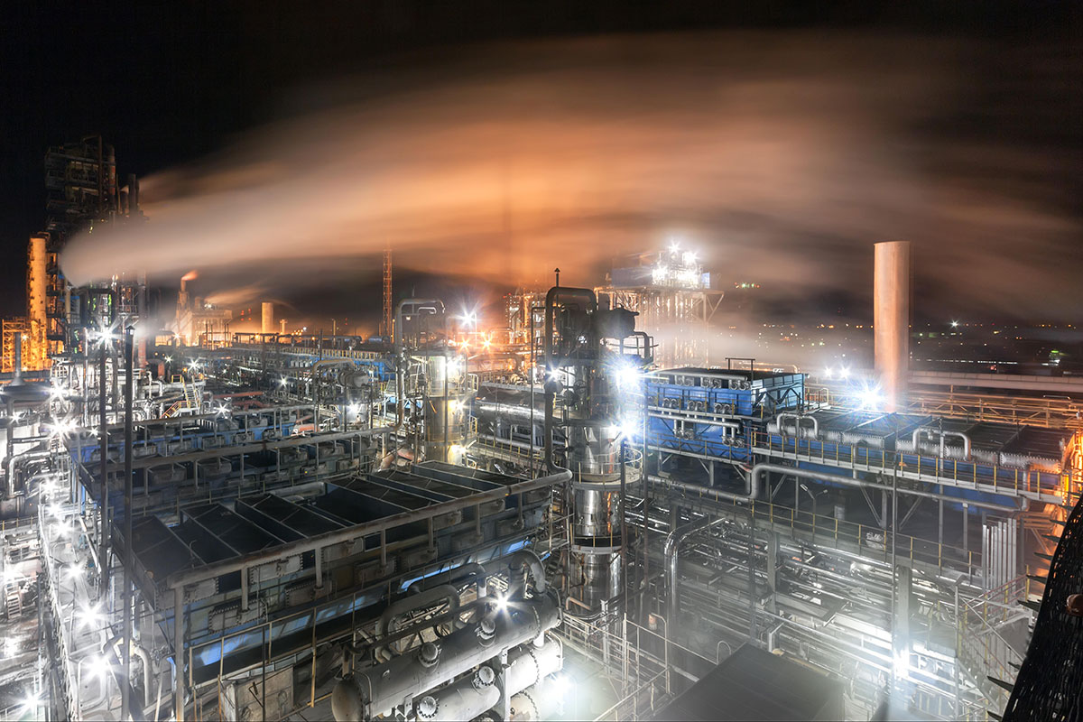 Ammonia is usually produced at huge chemical plants like this one