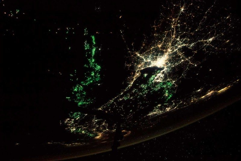 Night fishing with light-up lures that can be seen from space