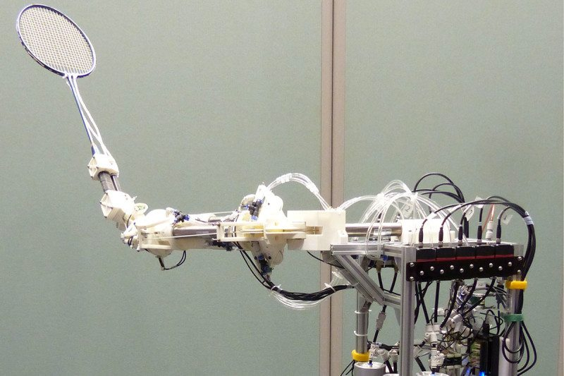 The badminton bot is fast - but doedn't generate as much power as a human player