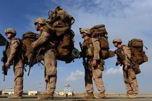 Four soldiers where big back packs