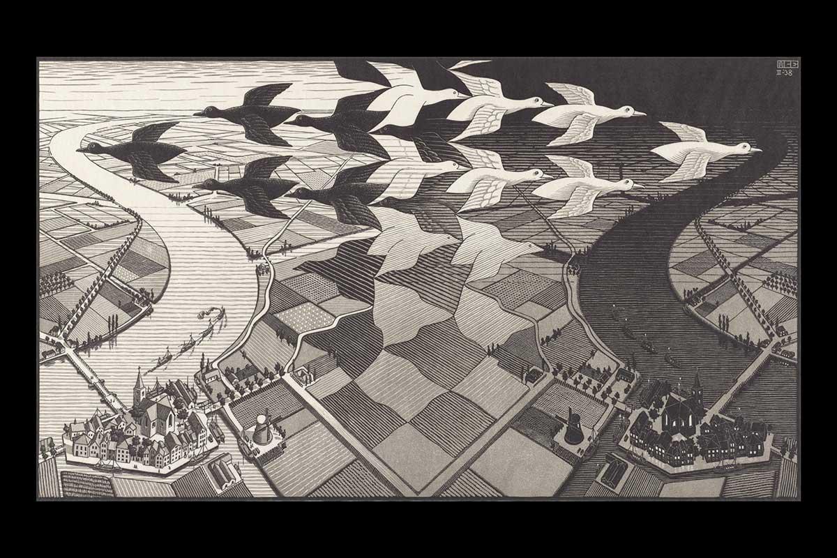 M. C. Escher, Day and Night (1938)