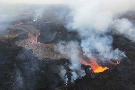 Lava flows continue to pour out of the volcano