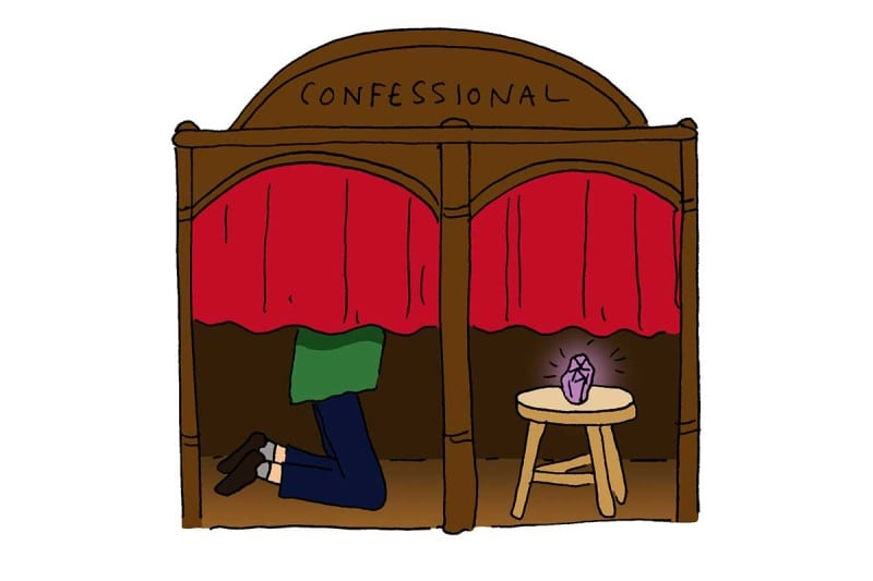 confessional box cartoon
