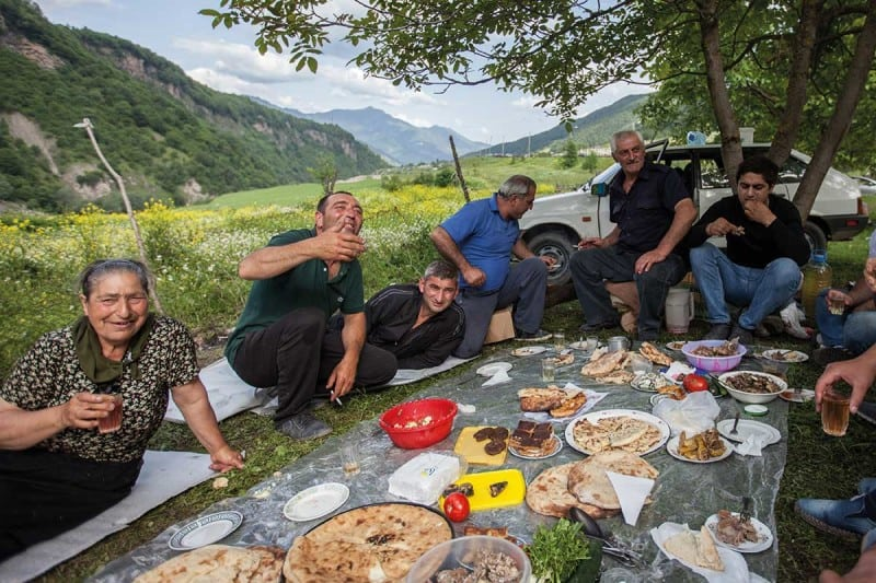 picnic in mountains