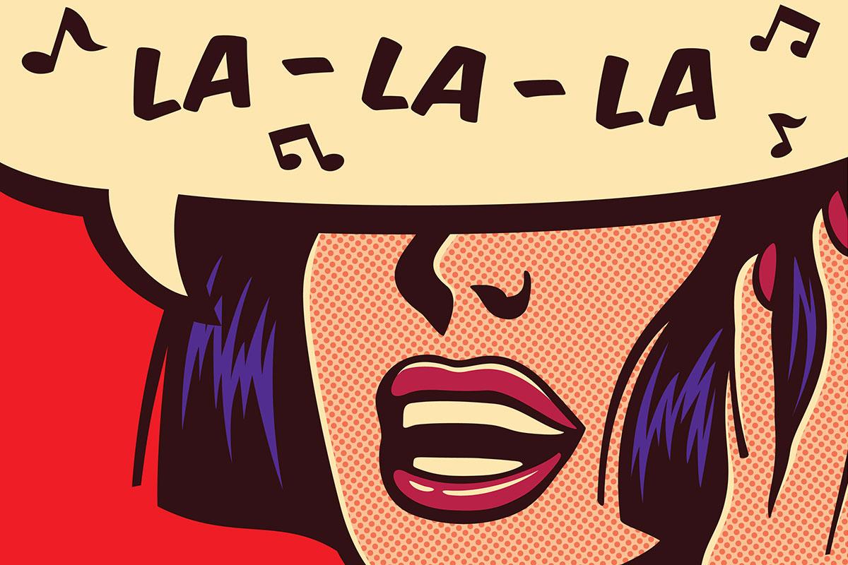 A pop art-style lady singsla-la-la