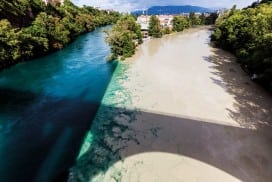 Weird water: The Rhone river meets the silty Arve in Geneva, Switzerland