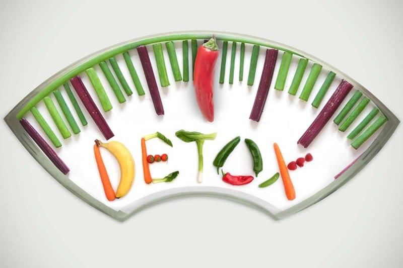 detox speled out in vegetables
