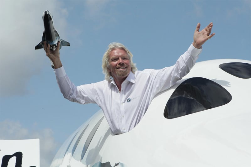 Richard Branson in SpaceShipTwo