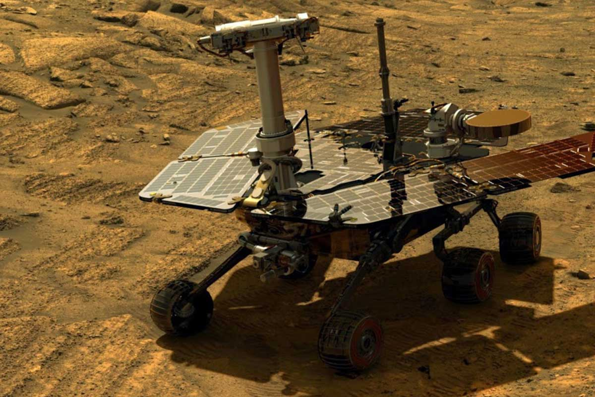 A simulated view of Opportunity rover on Mars