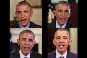 Four images of Barack Obama from a fake videos