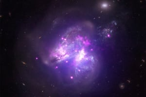 This X-ray picture shows two galaxies merging
