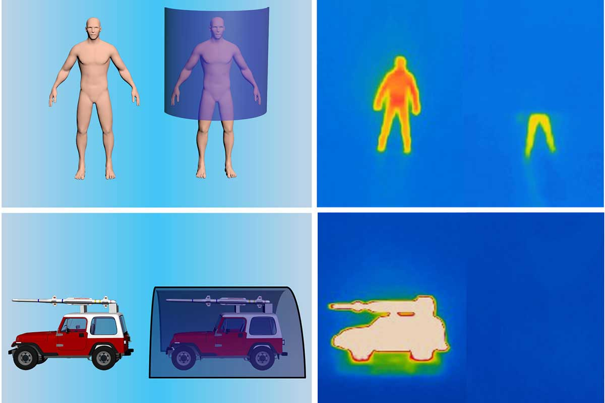 A model human and jeep (left) were hidden from an infrared camera (right)