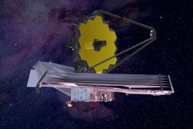 An artist's representation of the completed James Webb Space Telescope