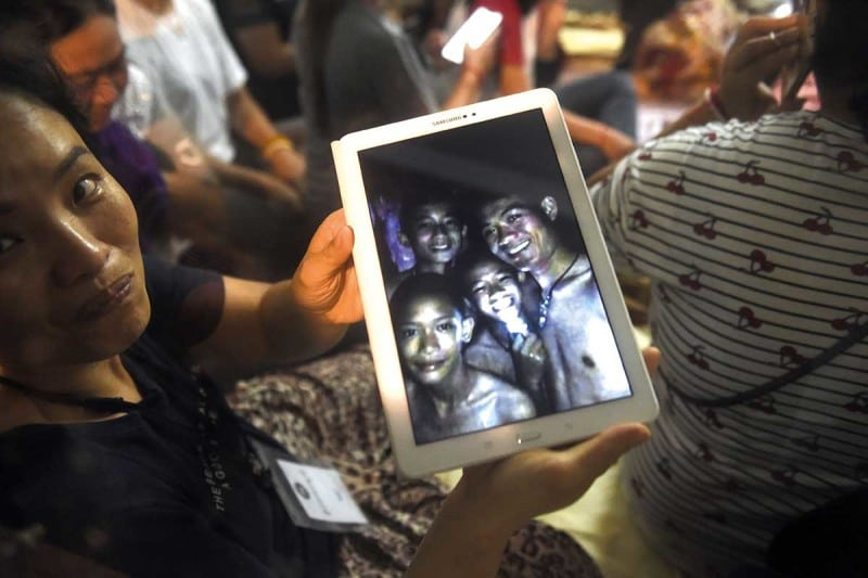 Thai boys in cave shown on tablet