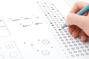 A person attempting an IQ test