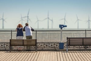 The  offshore wind farm viewed from Skegness Pier on another hot day in July