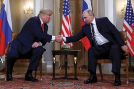 Donald Trump and Vladimir Putin shaking hands