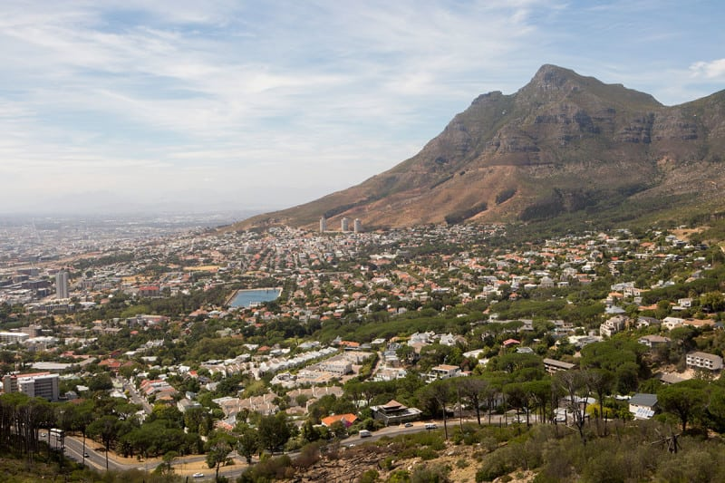 The city and Table Mountain are seen from Signal Hill in March this year