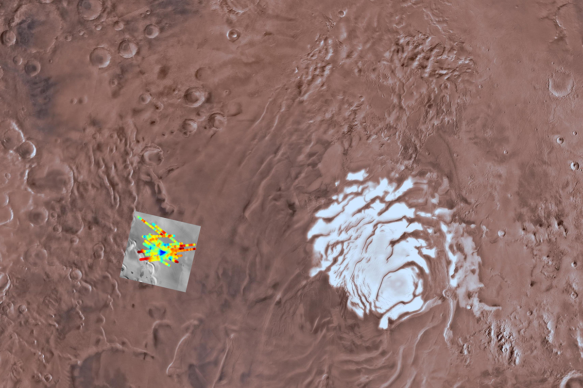 Blue spots show signs of subsurface water