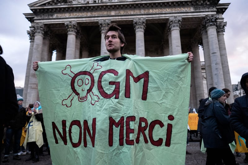 Protests against GMO in Paris. Gene-edited products will now be treated like GMOs