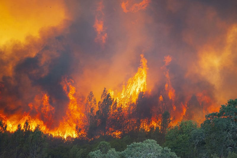 Flames erupt from the River Fire near Scott's Valley Road in Lake County California