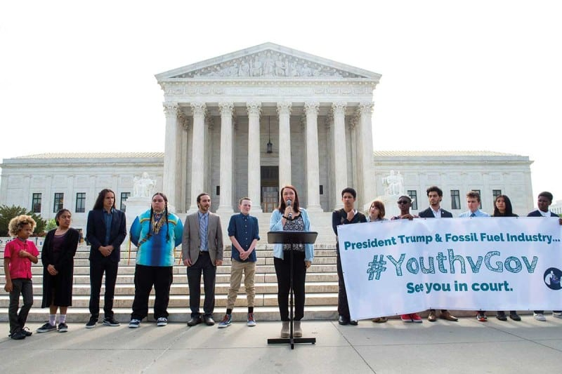 Some of the 21 young people taking the US government to court