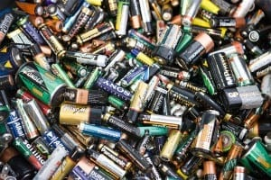 A pile of batteries