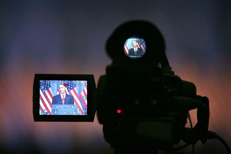 Barack Obama through the display on a video camera