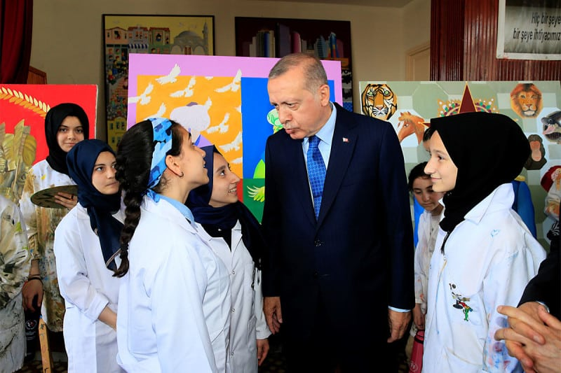 Turkish President Recep Tayyip Erdogan visits a school in Istanbul