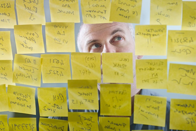 Man with post-it notes
